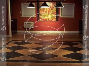 Diamond Taped Pattern Stained Concrete Floor