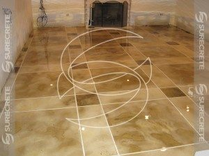 Concrete Floor Overlay with Tile Stained Pattern