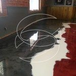 Multi Colored Epoxy Red and White Floor Design