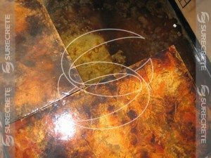 Brown and Gold Acid Stained Concrete Floor