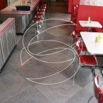Restaurant Concrete Floor with Large Tile Tape Pattern