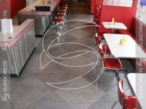 Restaurant Concrete Floor with Large Tile Tape Pattern