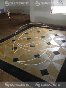 Multi Colored Stained Concrete Tile Floor