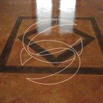 Brown Stained Concrete Floor with Tape Pattern