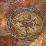 Stamped Concrete Floor Medallion Sealed