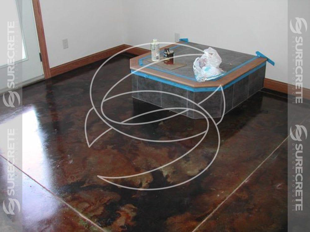Dark Brown Stained Concrete Floor Overlay Surecrete Products