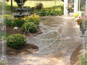 Brown Stamped Concrete Side Walk