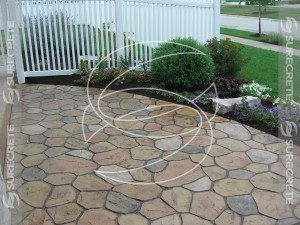 Taped Concrete Overlay That Looks Like Stone Patio