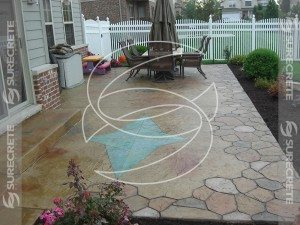 Back Concrete Patio With Stamp Stone Accent