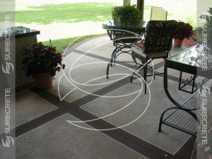 Concrete Patio Thin Overlay With Tape Pattern