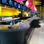 Curved Commercial Concrete Bar Top Sealed With High Gloss Countertop Sealer