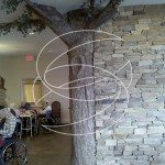 Decorative concrete Interior Stamped Wall with Concrete Tree Accent