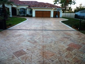 stamped concrete brown stained driveway