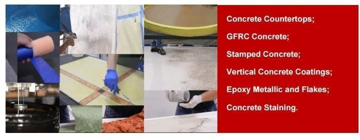 2-Day Course July 27-28th. 2017 The 2-Day hands-on training course is designed to help you become a Certified Concrete GFRC, Concrete Overlay, Epoxy Metallic and Flakes Fabricator.