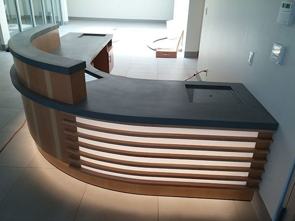 receptionist desk modern concrete top