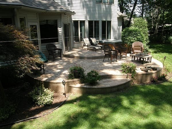 back yard stamped multi level patio