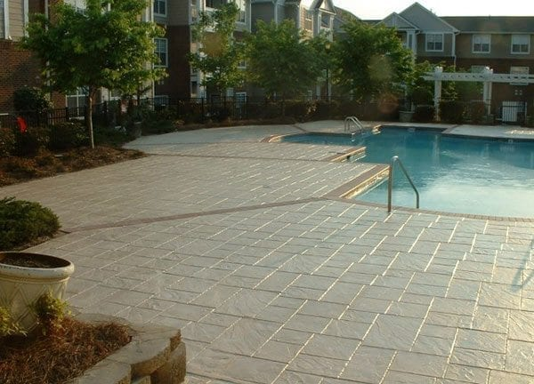 condo stamped concrete pool deck