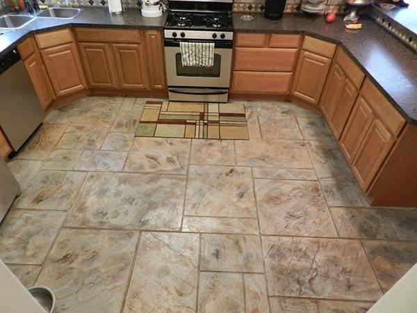 Kitchen Concrete Stamped Concrete Floor