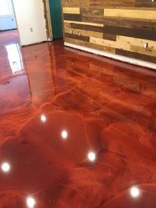 translucent metallic floor swirl design