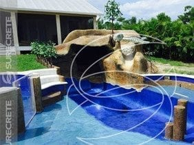 Jungle Carved Concrete Stamp Rock Looking Pool Slide