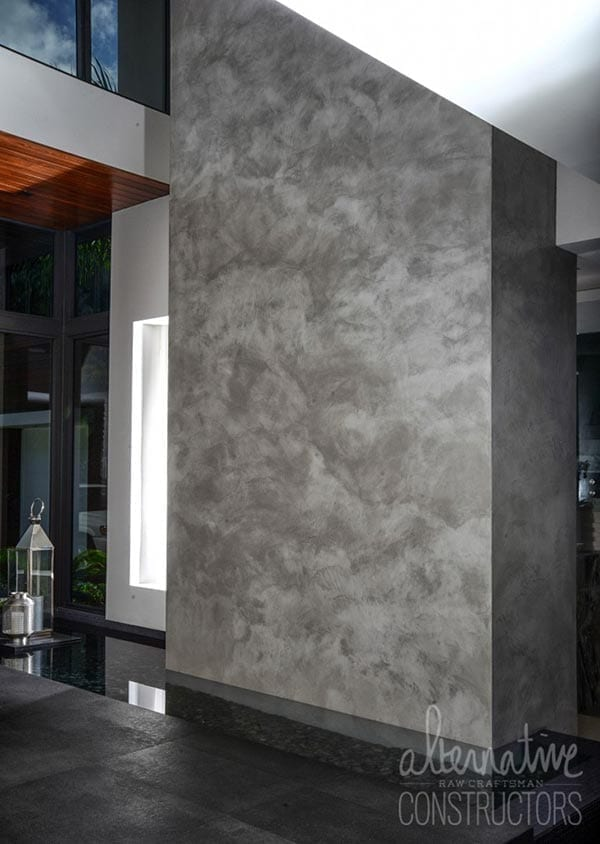 burnished concrete wall water feature