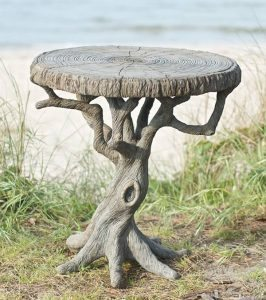 casted concrete artist sculpture tree table
