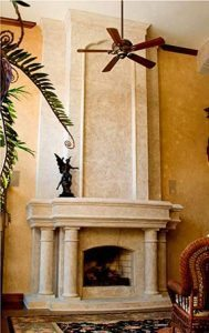 small cathedral fireplace surround architectural accents