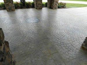 circular brick stamped medallion car port