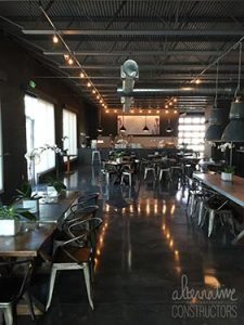 small coffee shop decorative stained concrete floor