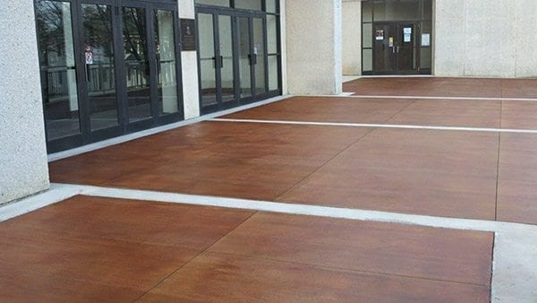 commercial entrance stained concrete