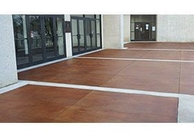small commercial entrance stained concrete