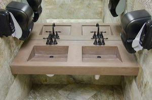 commercial integrated concrete dual sink design
