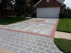 small concrete stencil brick pattern overlay