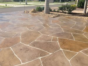 custom taped thin concrete flag stone pattern