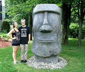 Artist Carved Easter Island Concrete Head