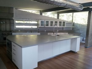 large concrete kitchen island industrial gray