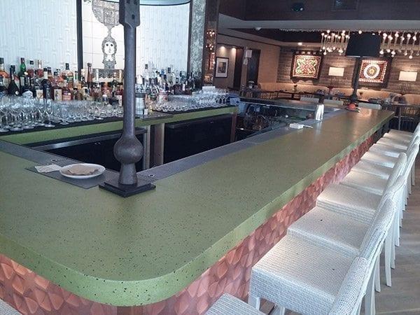 modern bartop concrete terrazzo green