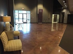 office lobby stained polished floor