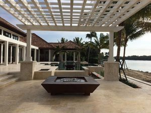 outdoor cabana simple concrete casted fire pit