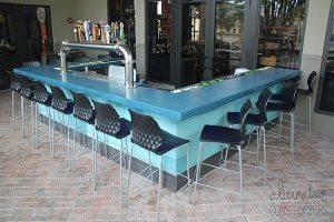 outdoor restaurant bar blue counter top