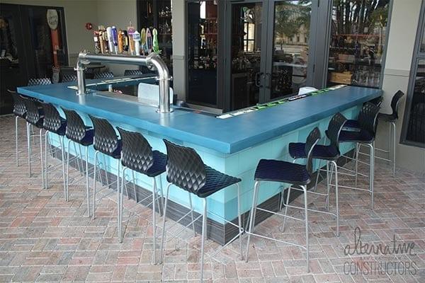 outdoor restaurant bar blue counter top