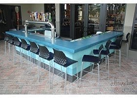 small outdoor restaurant bar blue counter top