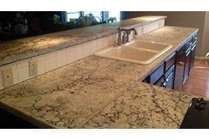 Small Pressed Look Concrete Countertop Top Bar