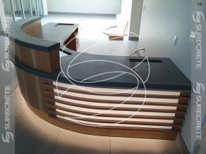 receptionist desk modern concrete top
