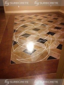 stained stenciled diamond pattern concrete floor