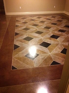 Professionally Stained Tape Pattern Floor