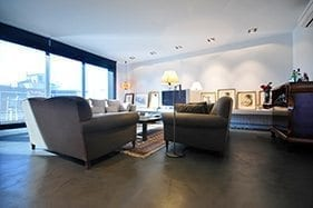 small thin concrete burnished polished look floor