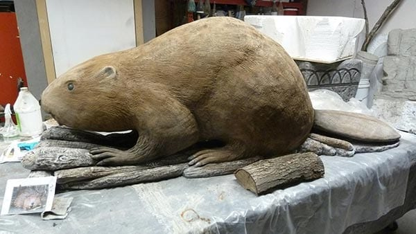 three dimensional 3d beaver carved concrete sculpture