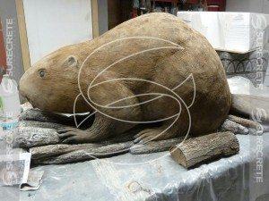three dimensional 3d beaver carved concrete sculpture