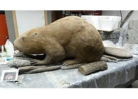 small three dimensional 3d beaver carved concrete sculpture